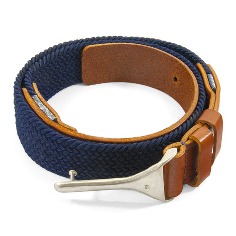 Anchor & Crew Navy Braid Harleck Leather and Nickel Belt