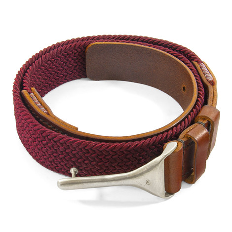 Anchor & Crew Burgundy Braid Harleck Leather and Nickel Belt