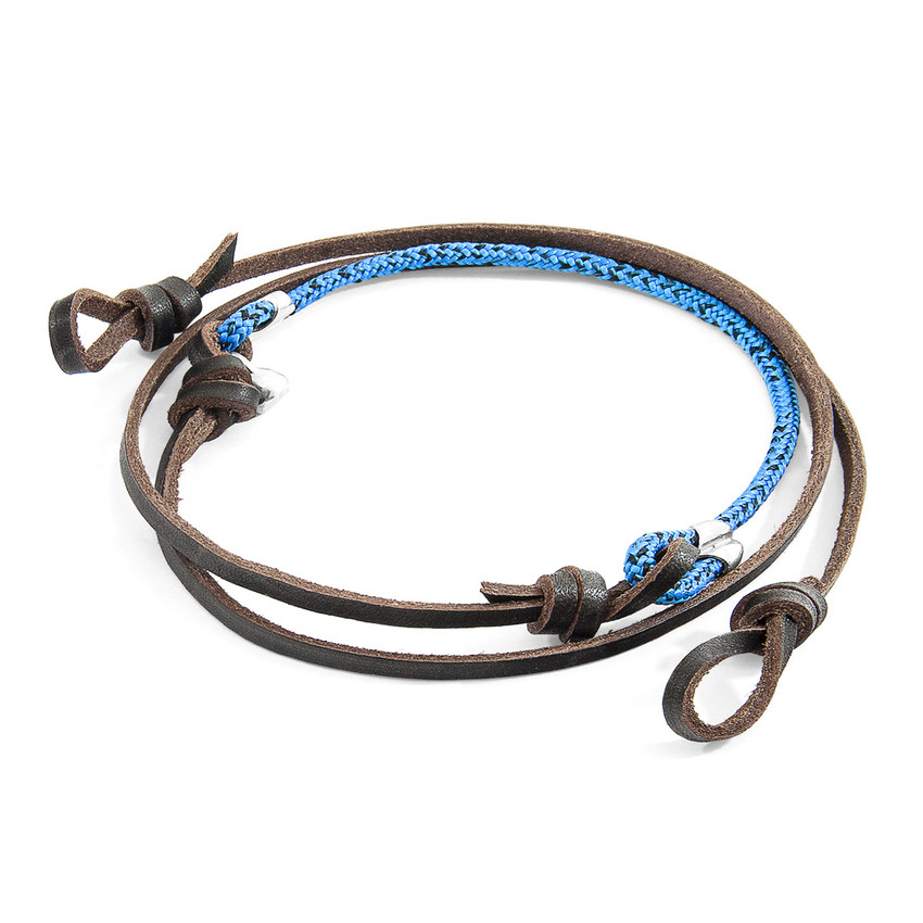 Anchor & Crew Blue Noir Conway Silver and Rope Eyewear Strap w/ Dark Brown Leather