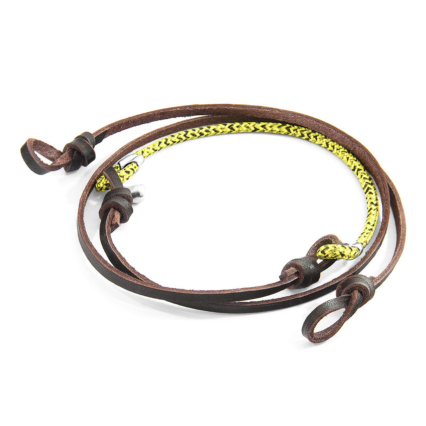 Anchor & Crew Yellow Noir Conway Silver and Rope Eyewear Strap w/ Dark Brown Leather