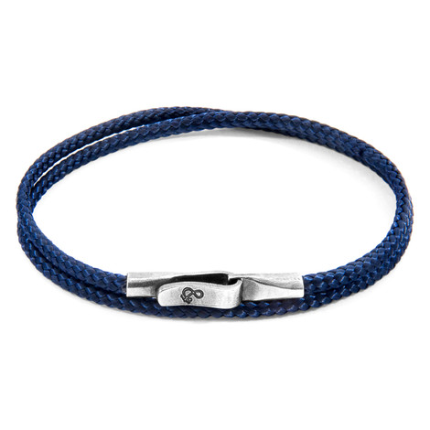 Anchor & Crew Navy Blue Liverpool Silver and Rope Bracelet