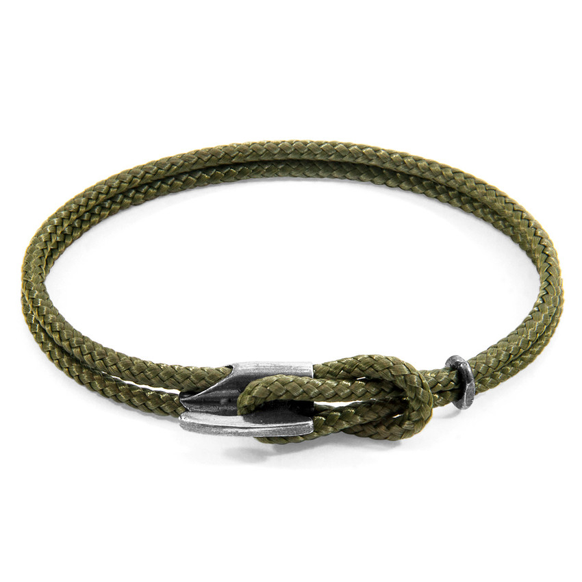 Anchor & Crew Khaki Green Padstow Silver and Rope Bracelet