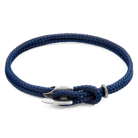 Anchor & Crew Navy Blue Padstow Silver and Rope Bracelet