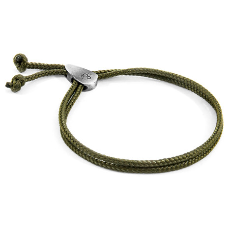 Anchor & Crew Khaki Green Pembroke Silver and Rope Bracelet