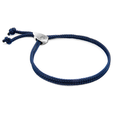 Anchor & Crew Navy Blue Pembroke Silver and Rope Bracelet