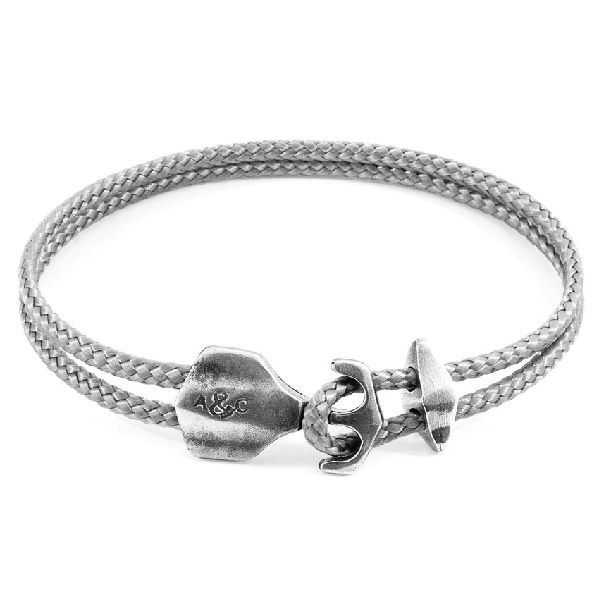 Anchor & Crew Classic Grey Delta Anchor Silver and Rope Bracelet