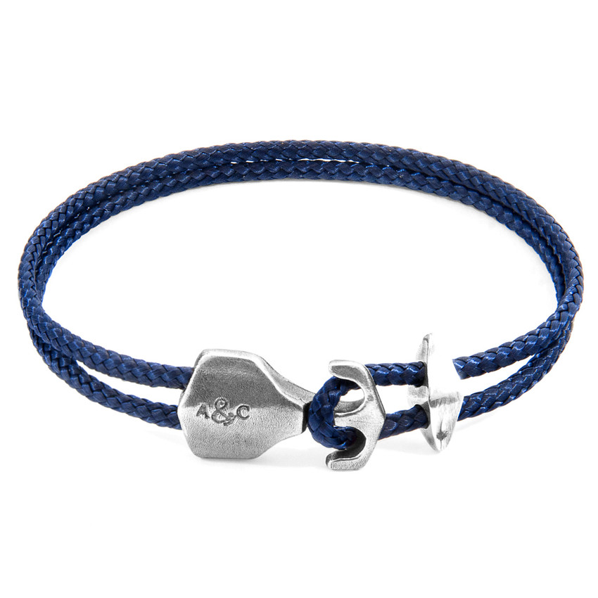 Anchor & Crew Navy Blue Delta Anchor Silver and Rope Bracelet