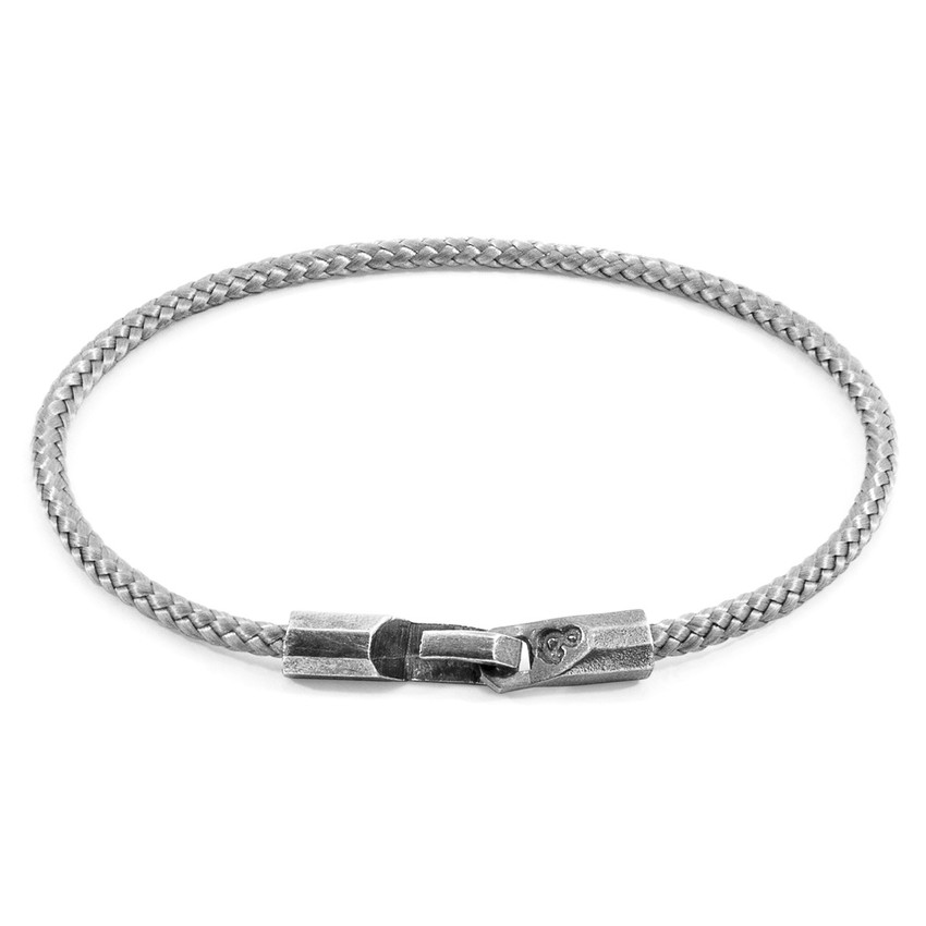 Anchor & Crew Classic Grey Talbot Silver and Rope Bracelet