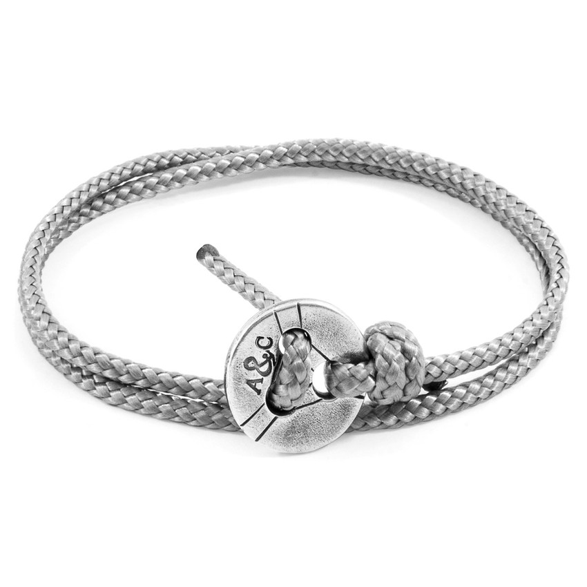 Anchor & Crew Classic Grey Lerwick Silver and Rope Bracelet