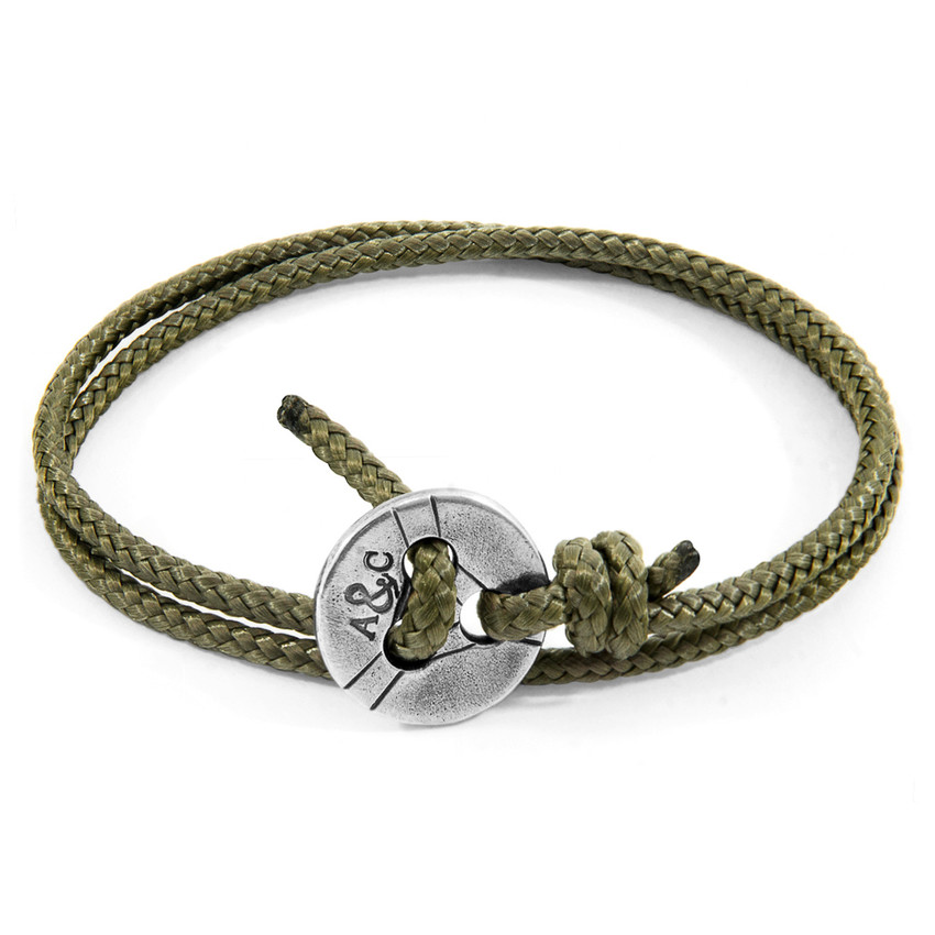 Anchor & Crew Khaki Green Lerwick Silver and Rope Bracelet