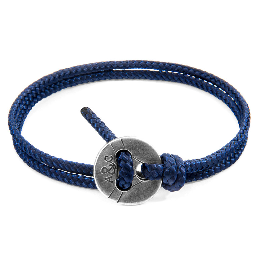 Anchor & Crew Navy Blue Lerwick Silver and Rope Bracelet