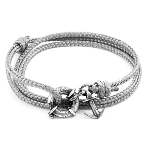 Anchor & Crew Classic Grey Clyde Anchor Silver and Rope Bracelet