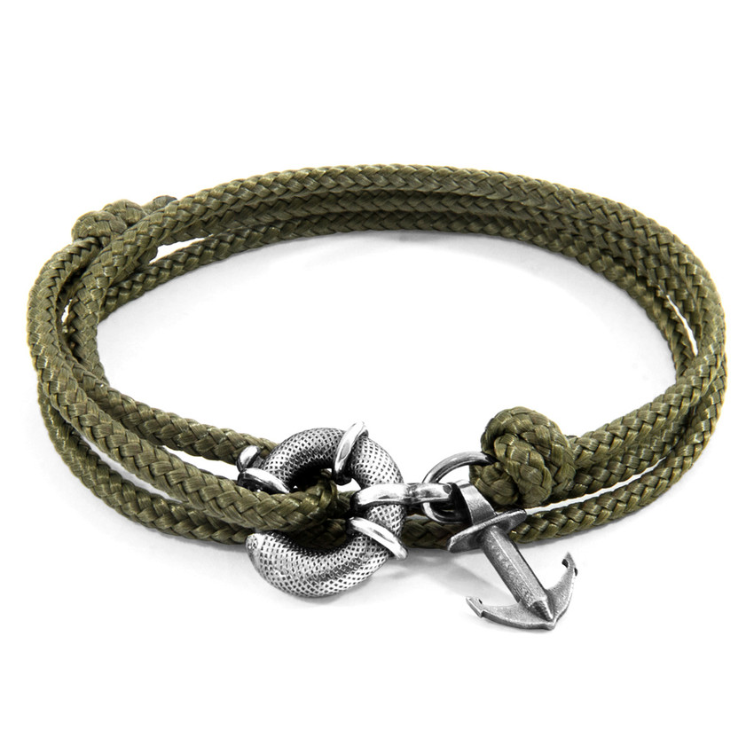 Anchor & Crew Khaki Green Clyde Anchor Silver and Rope Bracelet