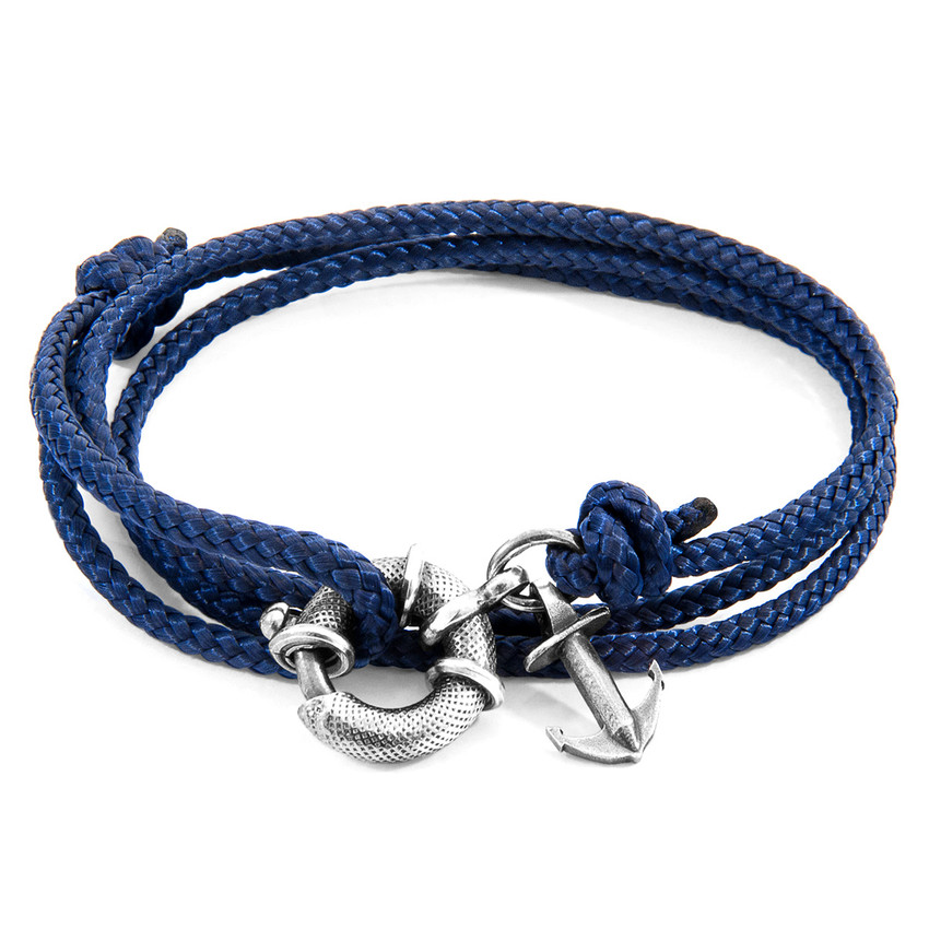 Anchor & Crew Navy Blue Clyde Anchor Silver and Rope Bracelet