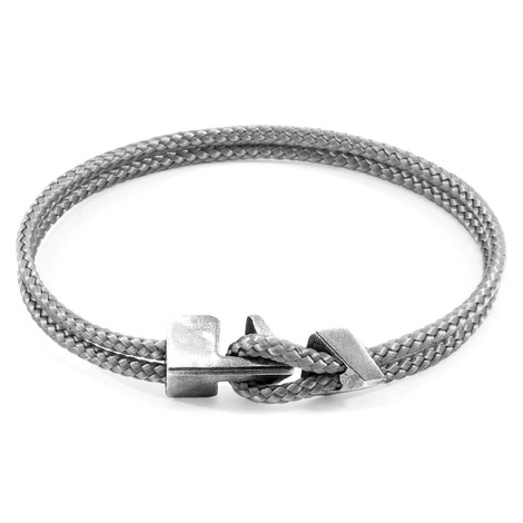 Anchor & Crew Classic Grey Brixham Silver and Rope Bracelet