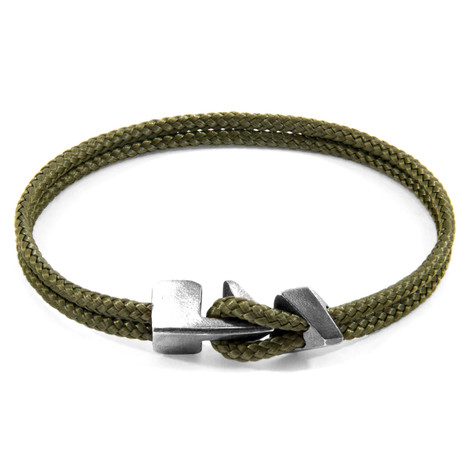 Anchor & Crew Khaki Green Brixham Silver and Rope Bracelet