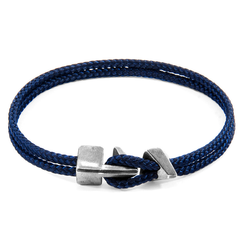 Anchor & Crew Navy Blue Brixham Silver and Rope Bracelet