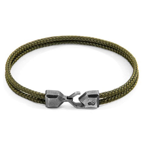 Anchor & Crew Khaki Green Cromer Silver and Rope Bracelet