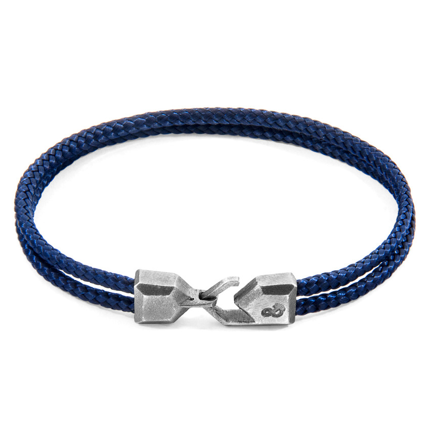 Anchor & Crew Navy Blue Cromer Silver and Rope Bracelet