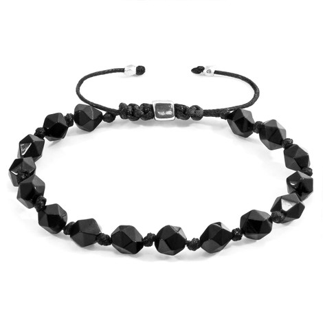 Anchor & Crew Black Agate Zebedee Silver and Stone Beaded Macrame Bracelet