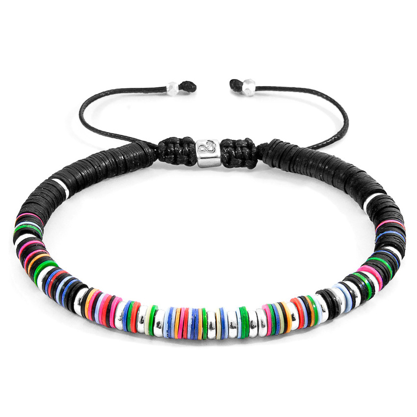 Anchor & Crew Multicoloured Kariba Silver and Vinyl Disc Macrame Bracelet