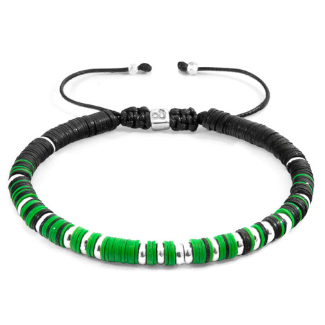 Anchor & Crew Green Kariba Silver and Vinyl Disc Macrame Bracelet