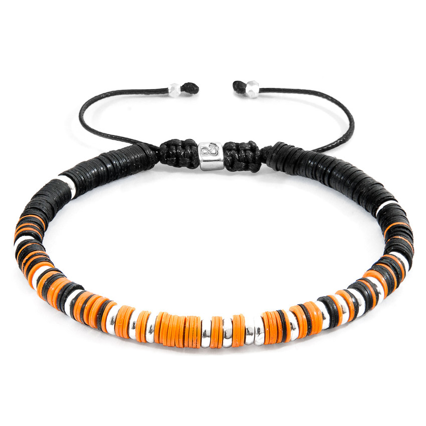 Anchor & Crew Orange Kariba Silver and Vinyl Disc Macrame Bracelet