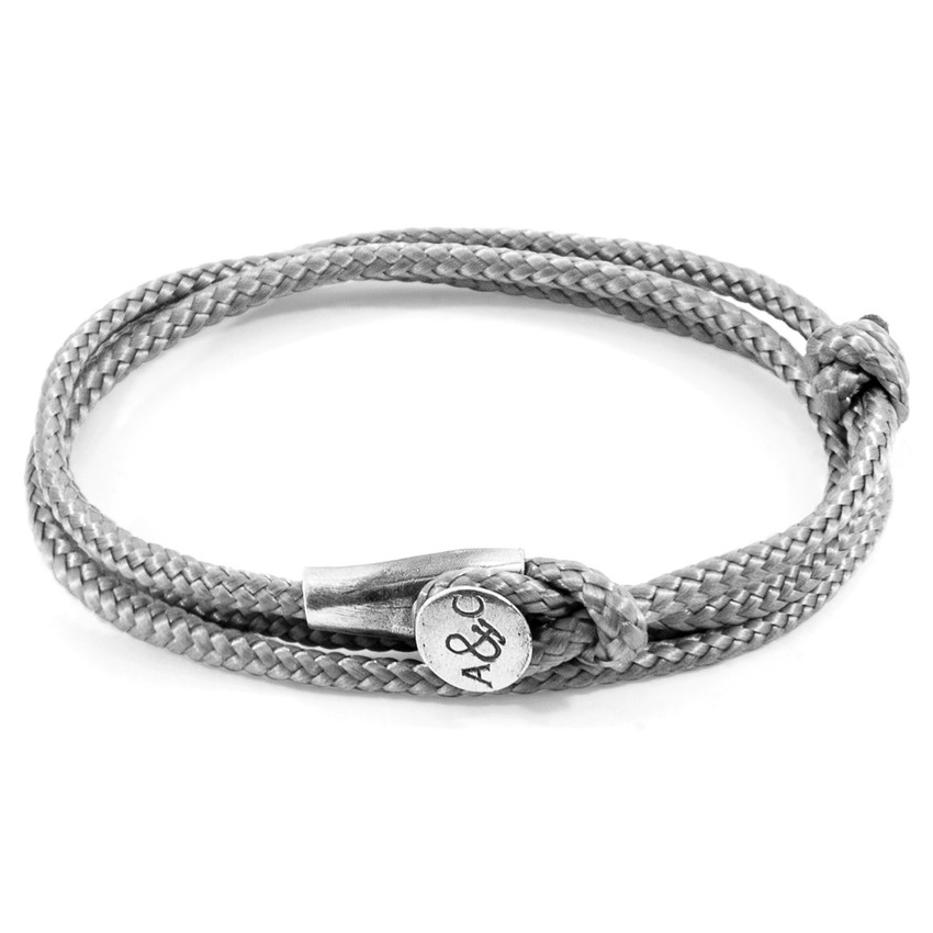 Anchor & Crew Classic Grey Dundee Silver and Rope Bracelet