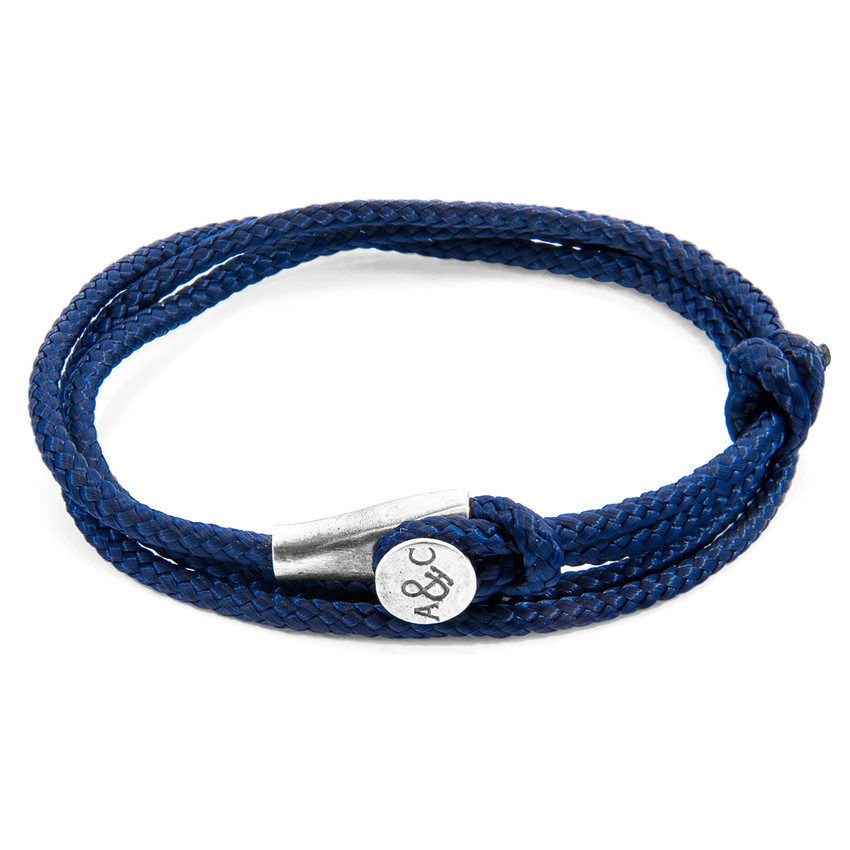 Anchor & Crew Navy Blue Dundee Silver and Rope Bracelet