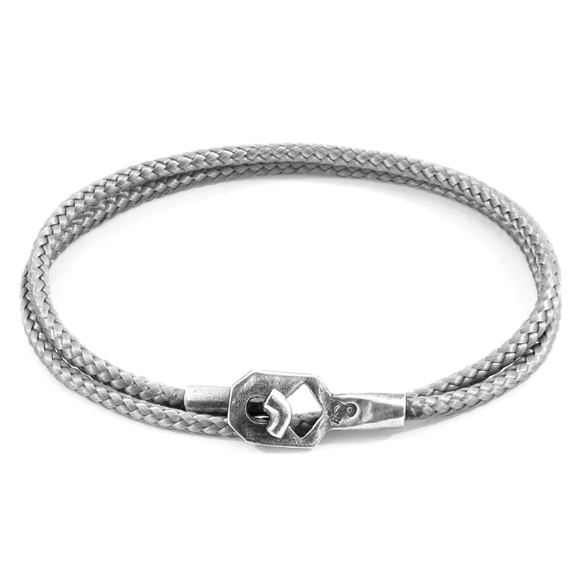 Anchor & Crew Classic Grey Tenby Silver and Rope Bracelet