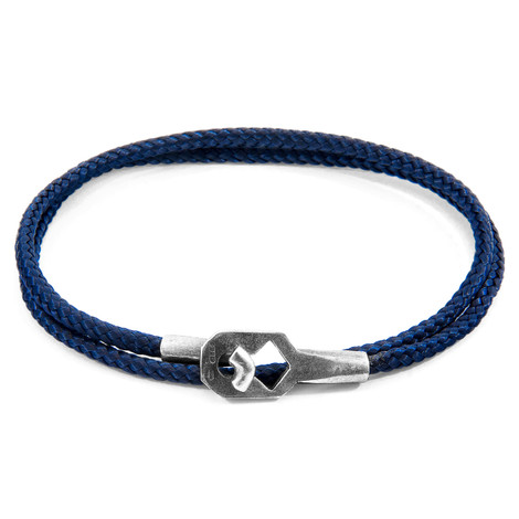 Anchor & Crew Navy Blue Tenby Silver and Rope Bracelet