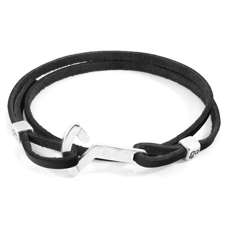 Anchor & Crew Coal Black Flyak Anchor Silver and Flat Leather Bracelet