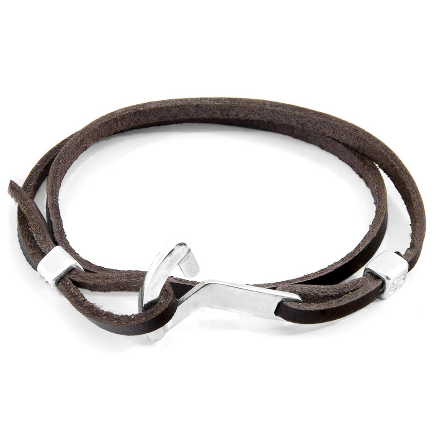 Anchor & Crew Dark Brown Flyak Anchor Silver and Flat Leather Bracelet