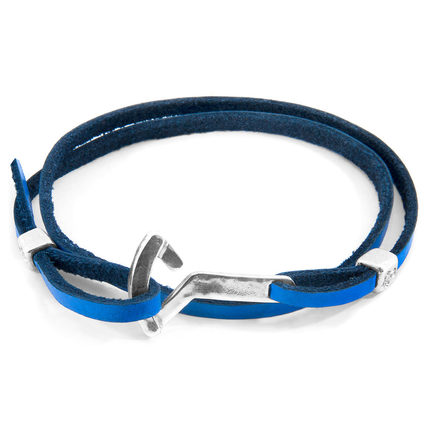 Anchor & Crew Royal Blue Flyak Anchor Silver and Flat Leather Bracelet
