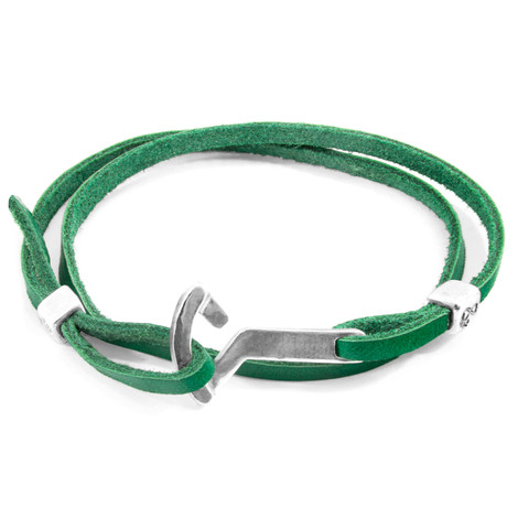 Anchor & Crew Fern Green Flyak Anchor Silver and Flat Leather Bracelet