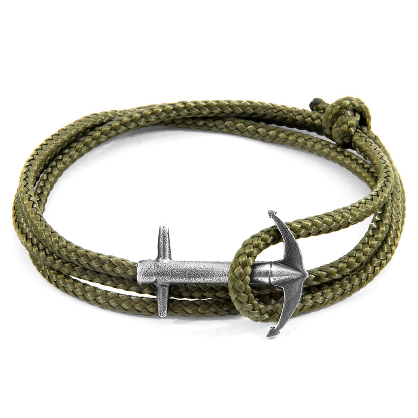 Anchor & Crew Khaki Green Admiral Anchor Silver and Rope Bracelet