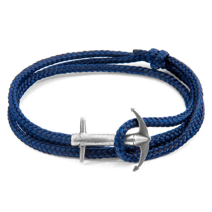 Anchor & Crew Navy Blue Admiral Anchor Silver and Rope Bracelet