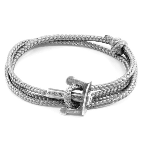 Anchor & Crew Classic Grey Union Anchor Silver and Rope Bracelet