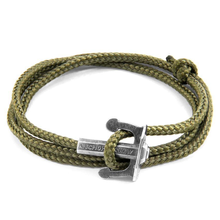 Anchor & Crew Khaki Green Union Anchor Silver and Rope Bracelet