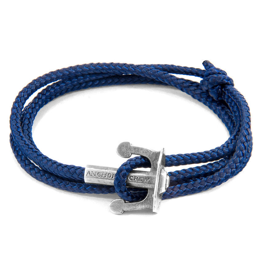 Anchor & Crew Navy Blue Union Anchor Silver and Rope Bracelet