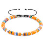 Anchor & Crew Orange Kivu Silver and Vinyl Disc Macrame Bracelet