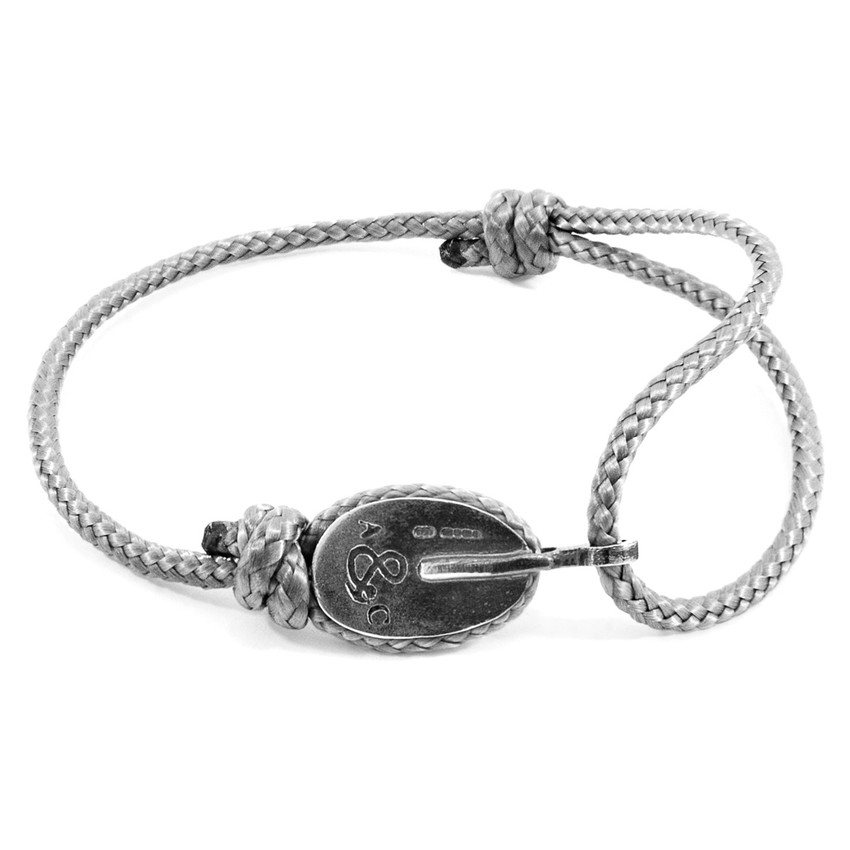 Anchor & Crew Classic Grey London Silver and Rope Bracelet