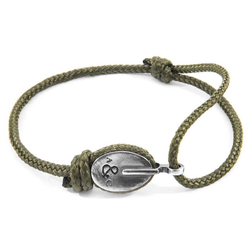 Anchor & Crew Khaki Green London Silver and Rope Bracelet