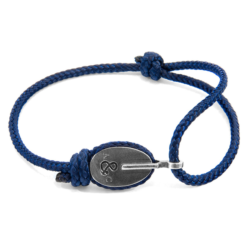 Anchor & Crew Navy Blue London Silver and Rope Bracelet