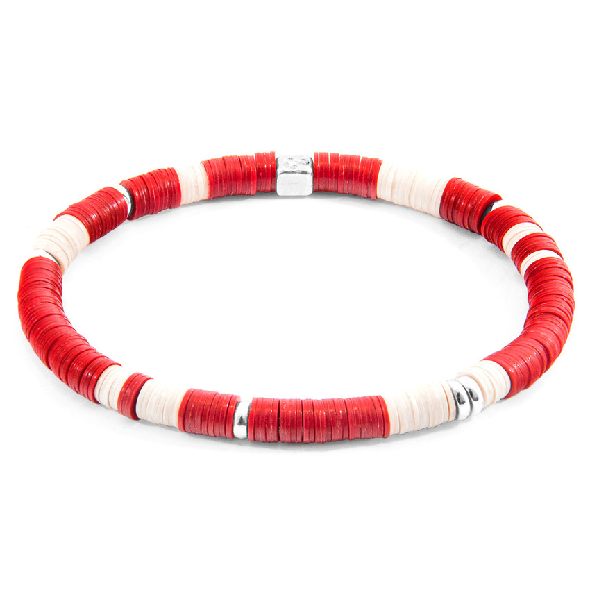Anchor & Crew Red Malawi Silver and Vinyl Disc Bracelet