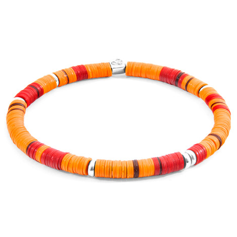 Anchor & Crew Orange Malawi Silver and Vinyl Disc Bracelet