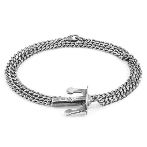 Anchor & Crew Union Anchor Double Silver Chain Bracelet