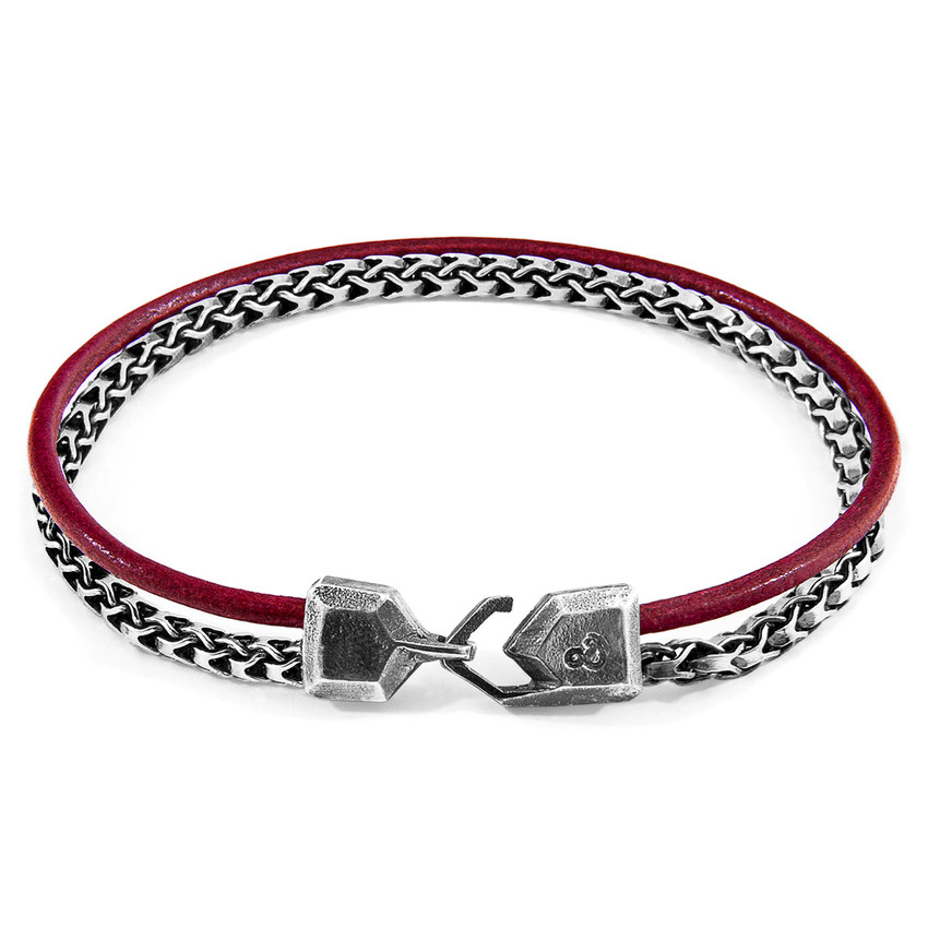 Anchor & Crew Bordeaux Red Bowspirit Mast Silver and Round Leather Bracelet