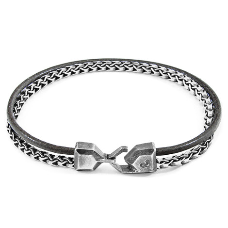 Anchor & Crew Shadow Grey Bowspirit Mast Silver and Round Leather Bracelet