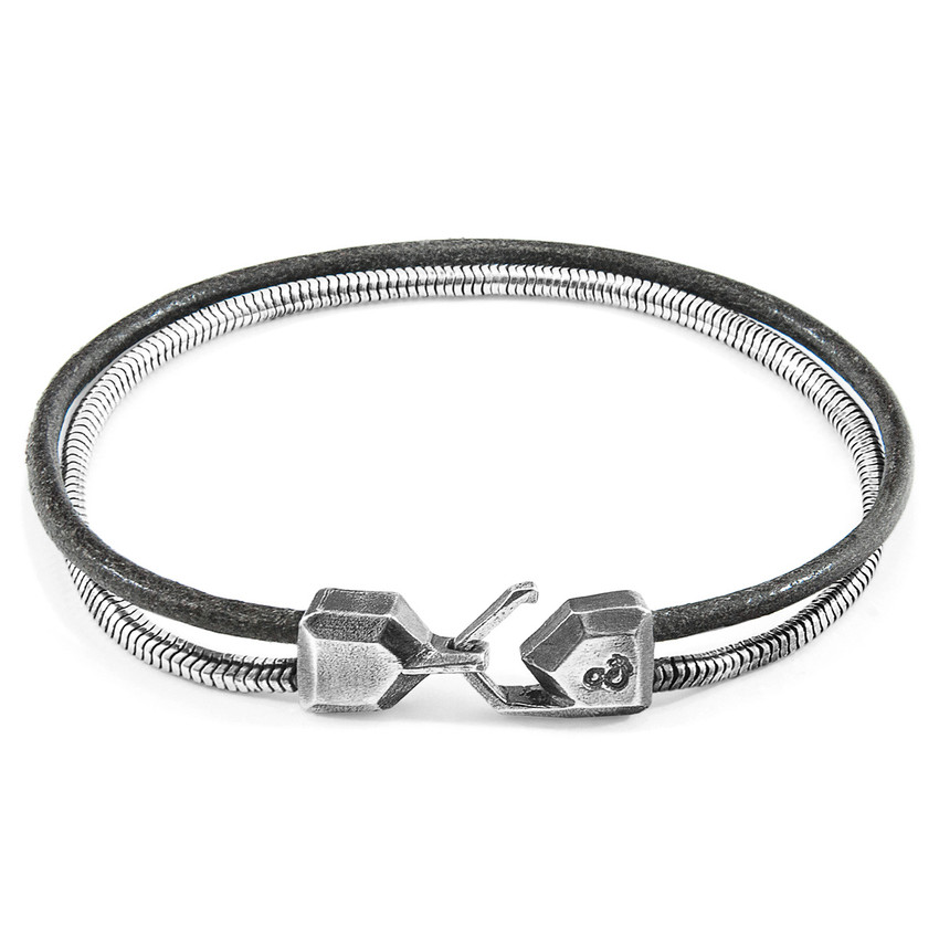 Anchor & Crew Shadow Grey Gallant Mast Silver and Round Leather Bracelet